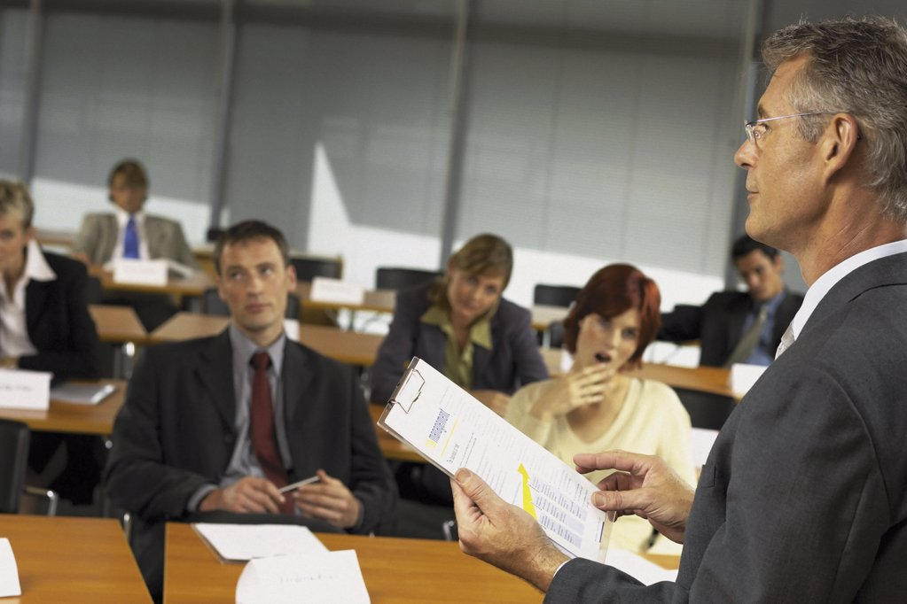 Businesspeople being lectured : Stock Photo