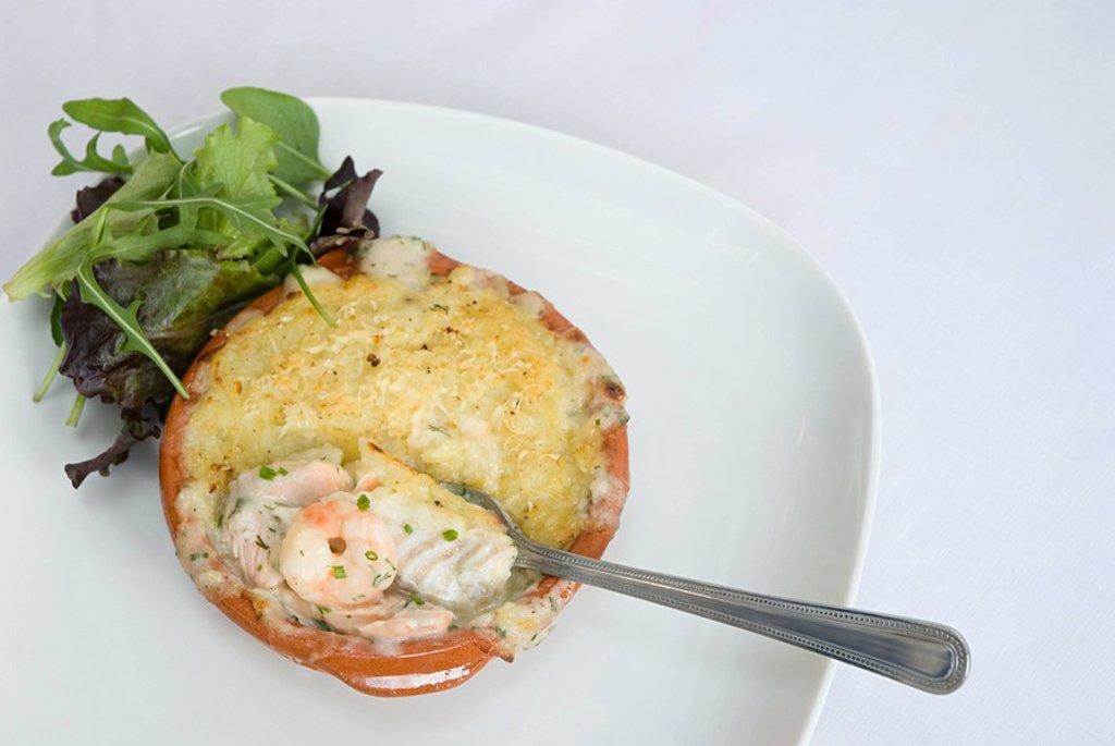 Fish pie with prawns : Stock Photo