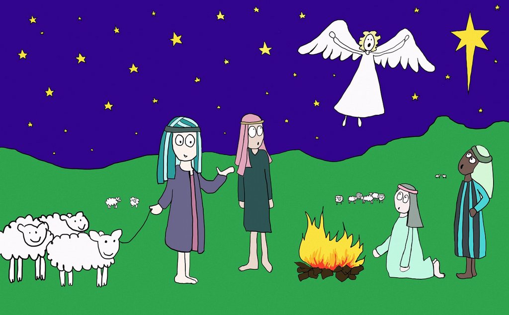 Angel appearing to shepherds : Stock Photo