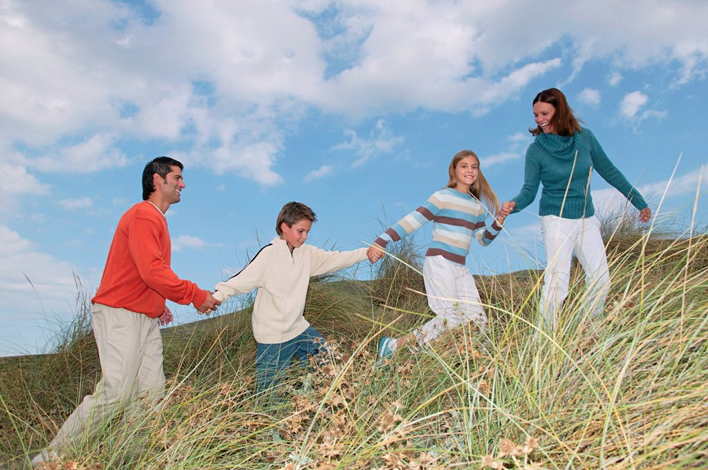 Family walking hand in hand over dune : Stock Photo