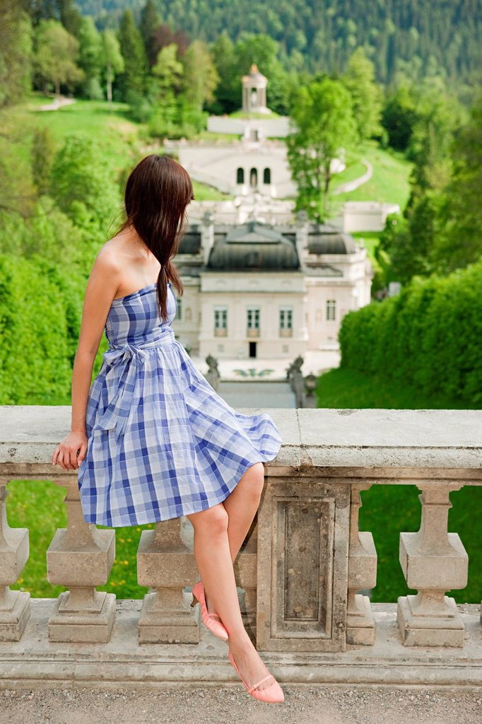 Stock Photo: 1439R-1135587 Woman at Linderhof Palace, Bavaria, Germany