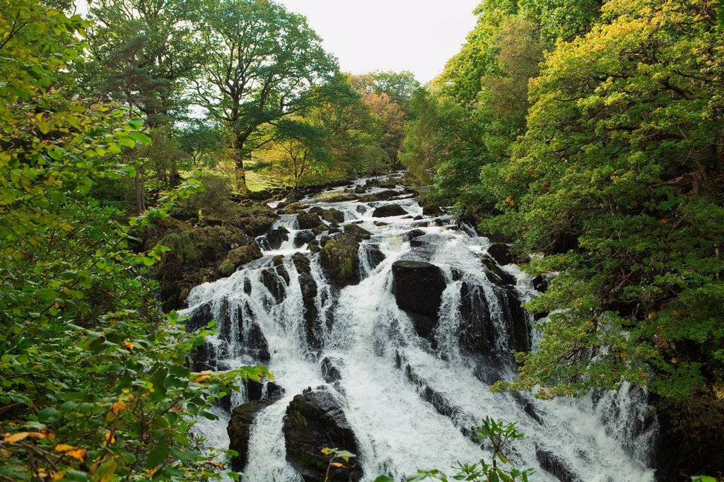 Stock Photo: 1439R-1136581 Waterfall, North Wales, UK