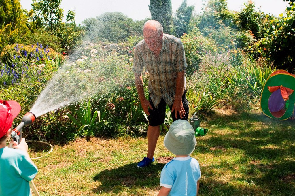 Stock Photo: 1439R-1137894 Grandsons spraying grandfather with hosepipe