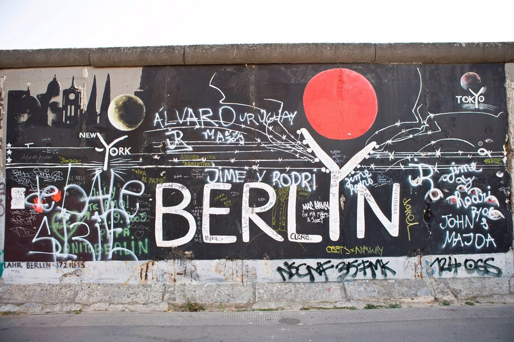 Graffiti on Berlin Wall, Berlin, Germany : Stock Photo