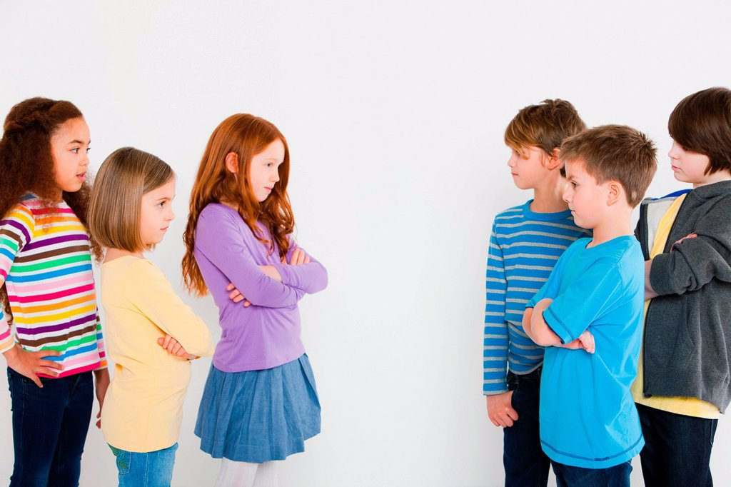 Stock Photo: 1439R-1141858 Girls and boys confronting each other