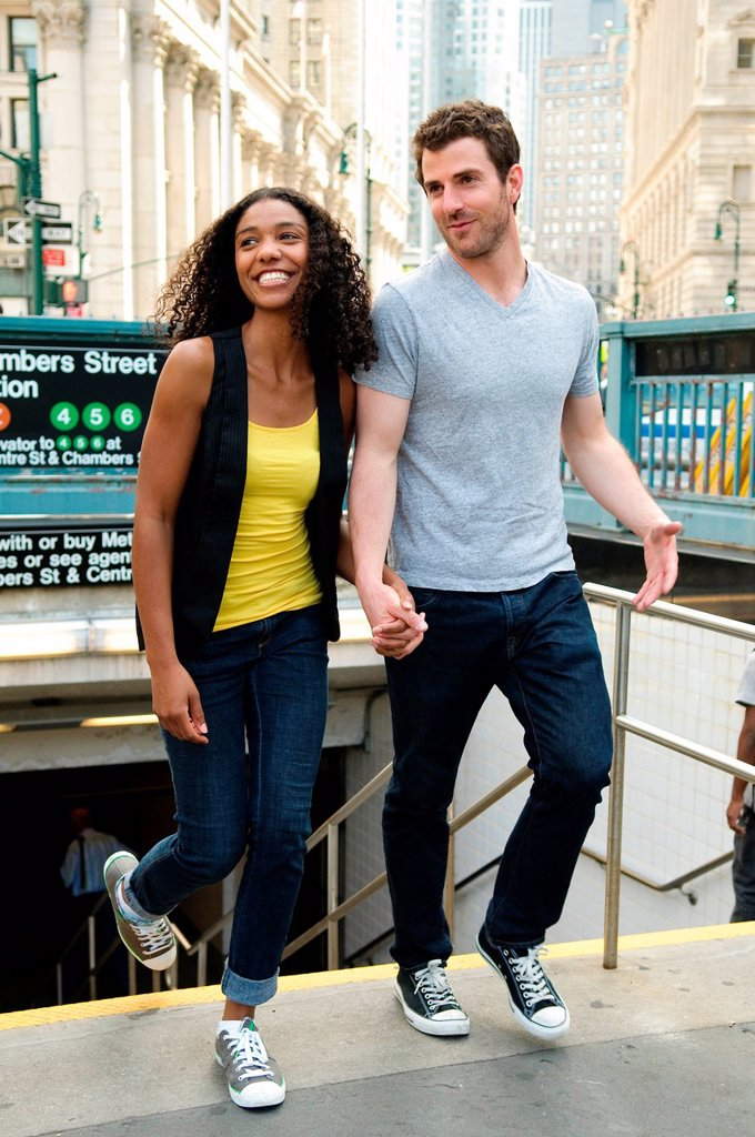 Couple exiting subway station : Stock Photo