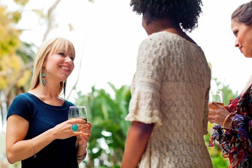 Female friends with wine : Stock Photo