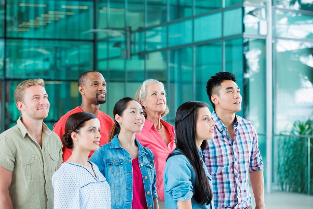 Stock Photo: 1439R-1144915 Group of people looking up