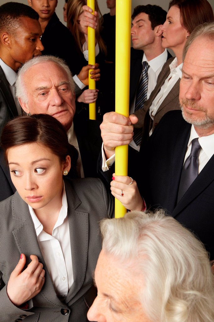Crowded subway train : Stock Photo