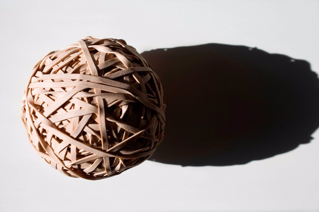 Stock Photo: 1439R-1146486 Ball of rubber bands