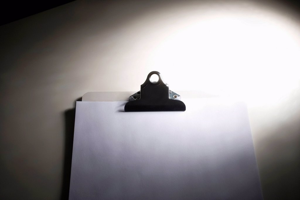 Stock Photo: 1439R-1146702 Clipboard with blank paper
