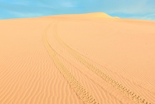White sand dunes at sunrise, Mui Ne, Vietnam : Stock Photo