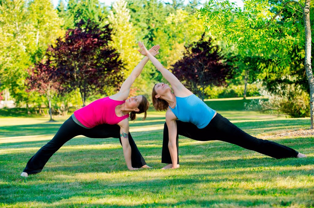 Stock Photo: 1439R-1147537 Two women practising yoga together in a park