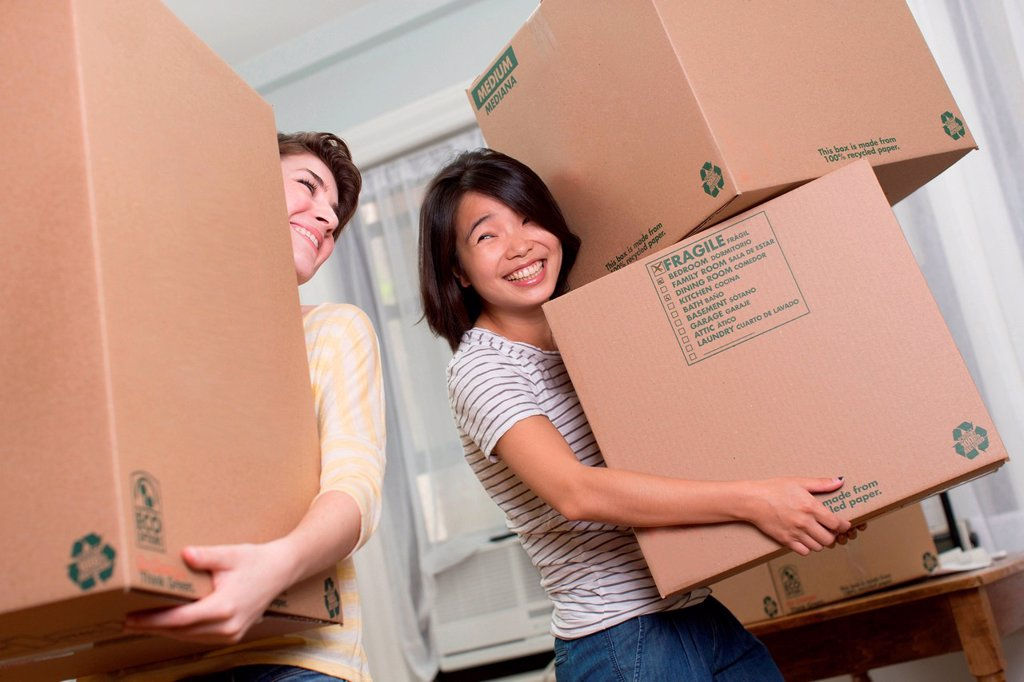 Two young women moving boxes : Stock Photo