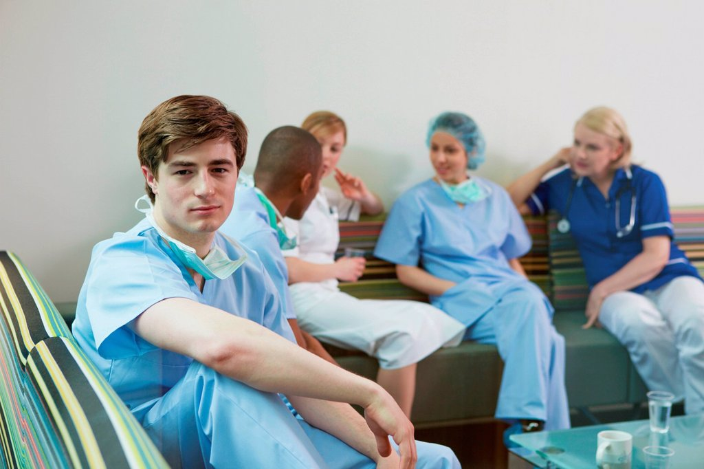Stock Photo: 1439R-1147719 Medical staff in hospital staff room