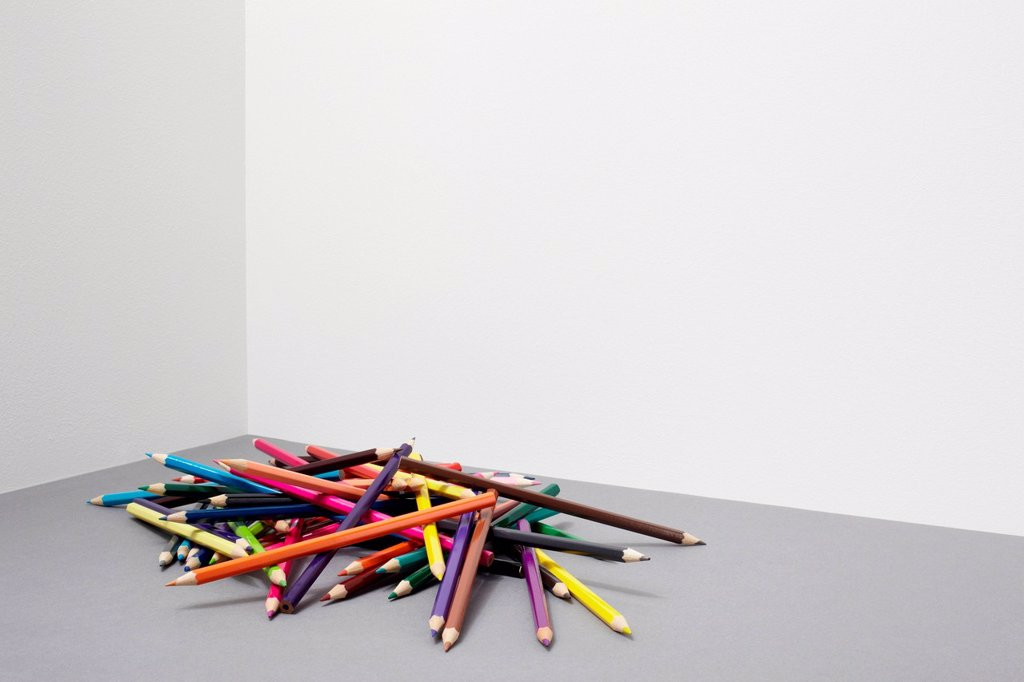 Stock Photo: 1439R-1147782 Stack of colouring pencils