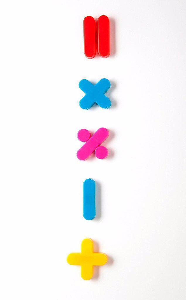 Stock Photo: 1439R-1147820 Mathematical symbol fridge magnets