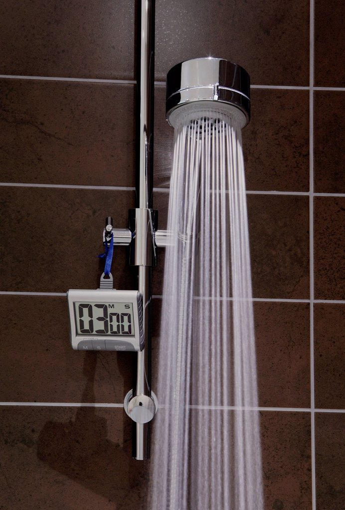 Stock Photo: 1439R-1148288 Shower with timer and running water