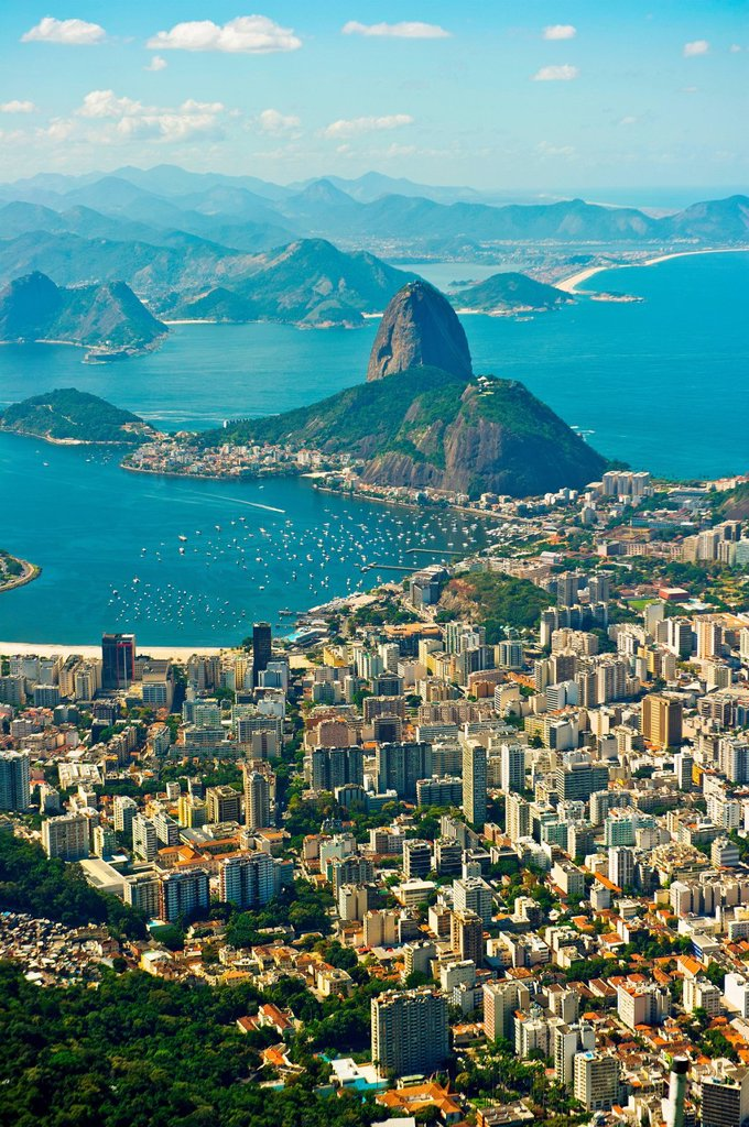Aerial view of Rio de Janeiro cityscape and Sugarloaf Mountain, Brazil : Stock Photo