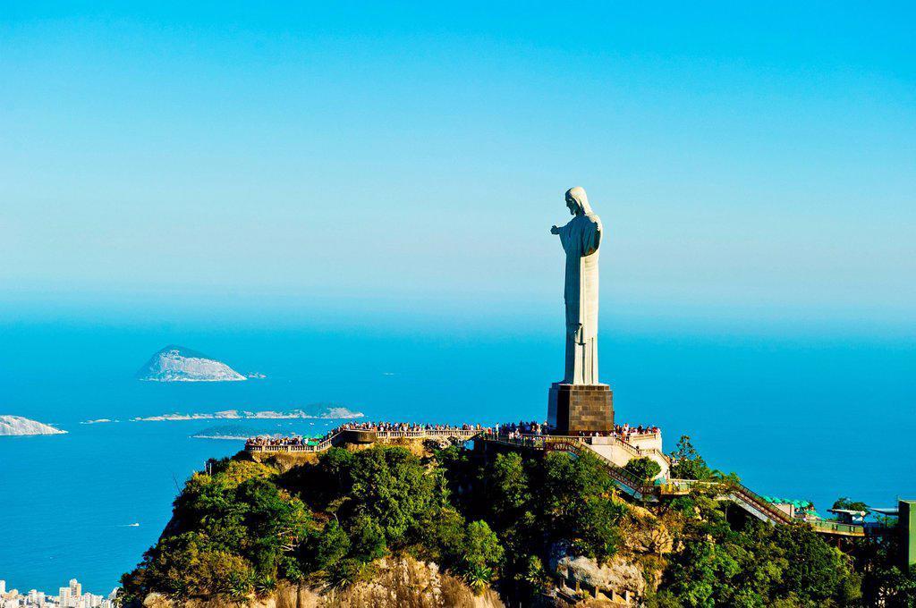 Christ the Redeemer statue overlooking Rio de Janeiro, Brazil : Stock Photo