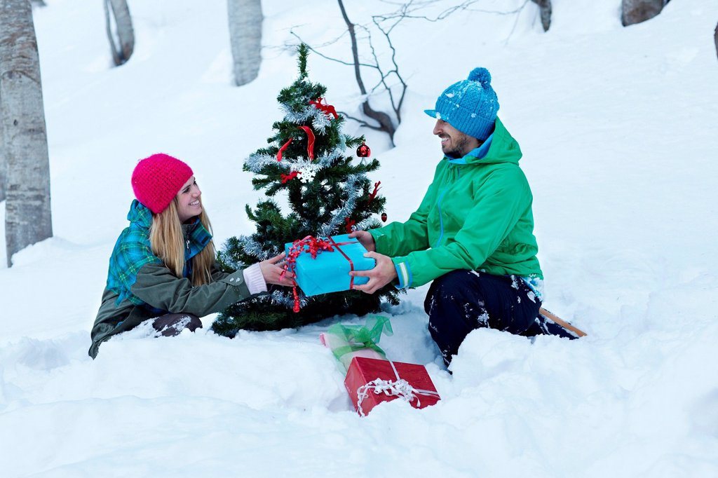 Stock Photo: 1439R-1148906 Couple sitting by christmas tree with gifts