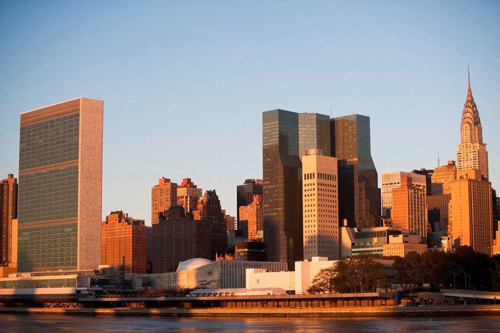 Stock Photo: 1439R-1149012 East River and Manhattan buildings, New York City