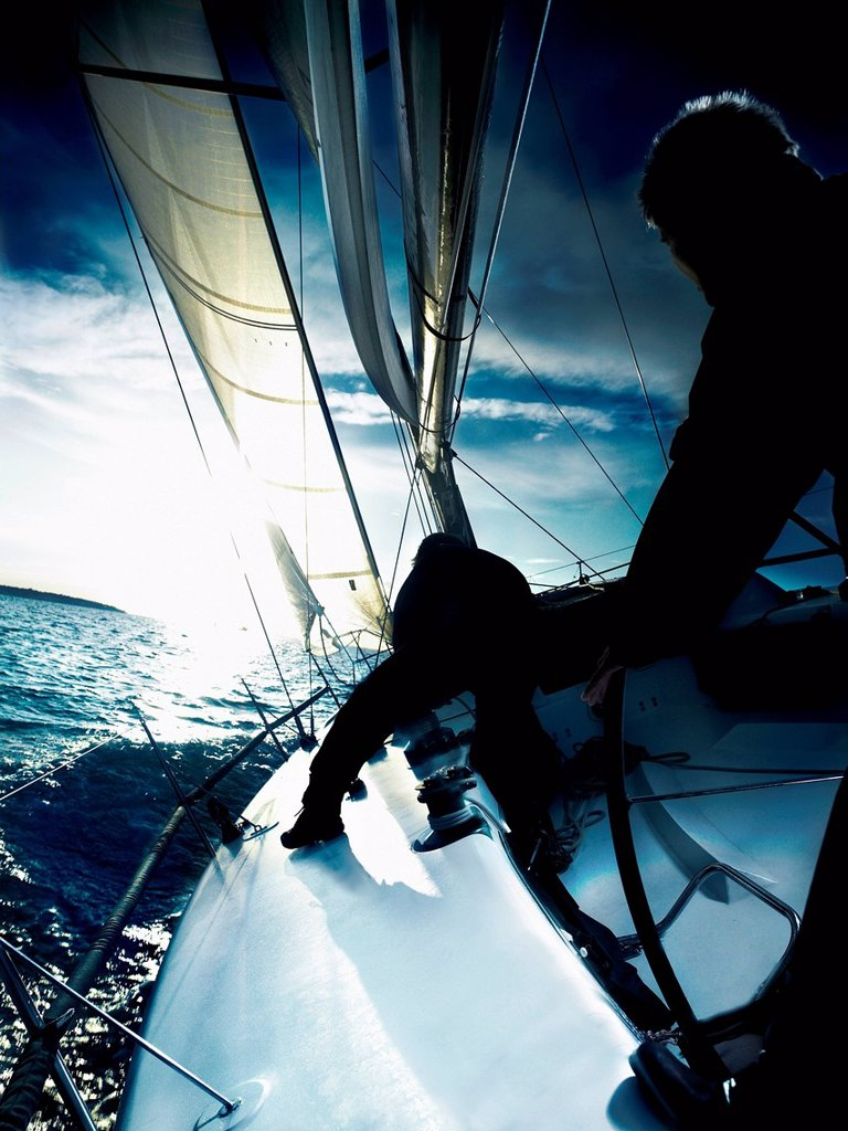 Two sailors on yacht : Stock Photo