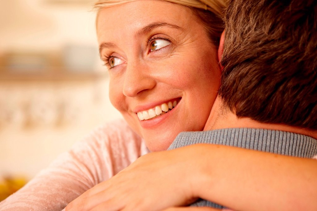 Close up of couple hugging : Stock Photo