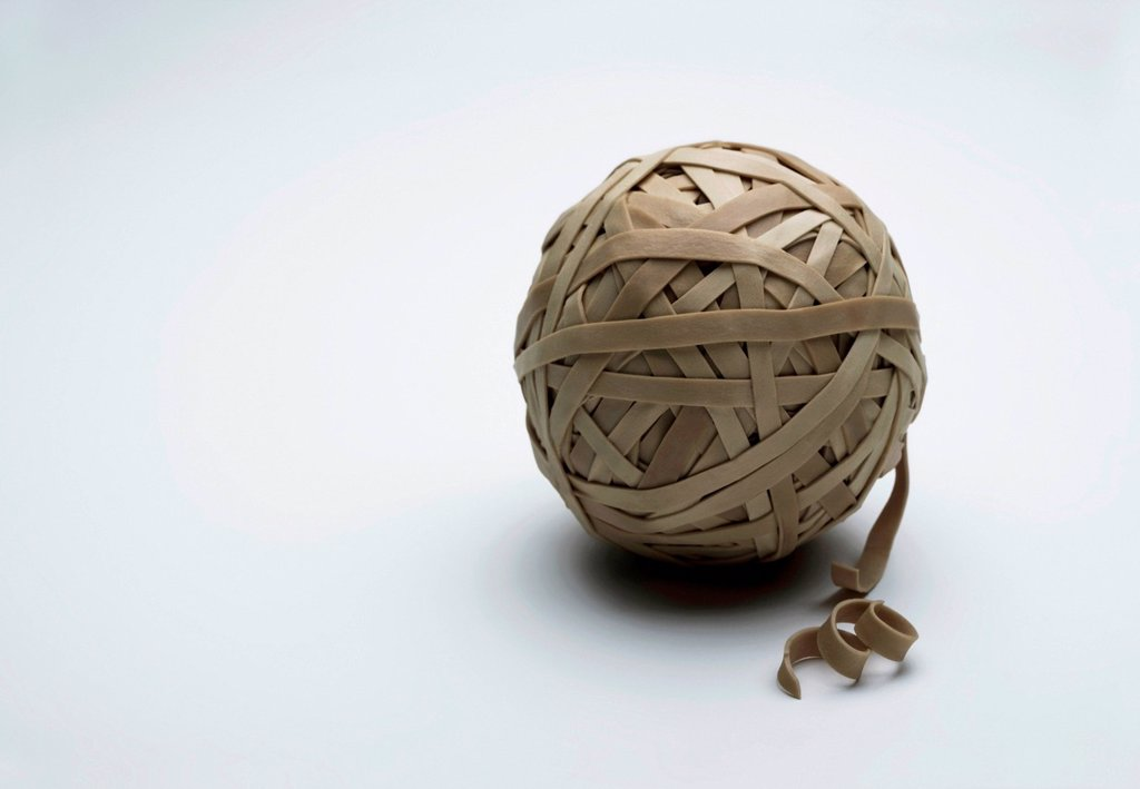Stock Photo: 1439R-1149346 Rubber band ball