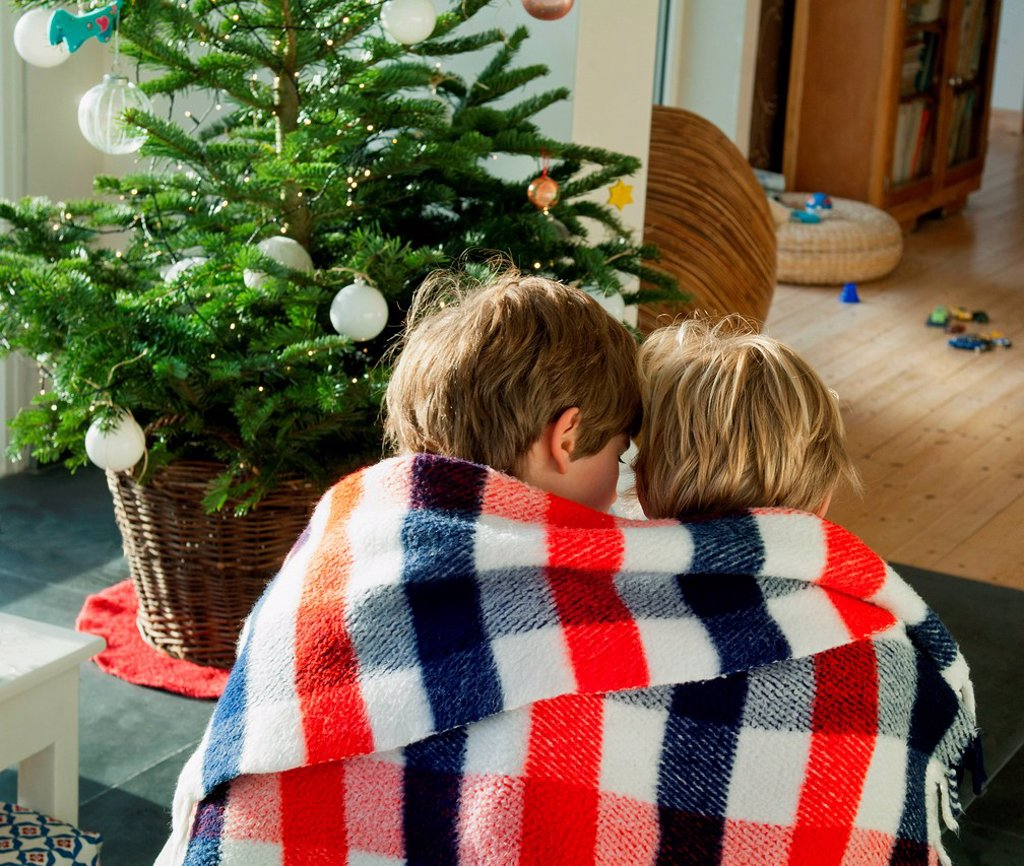 Two boys wrapped in blanket together : Stock Photo