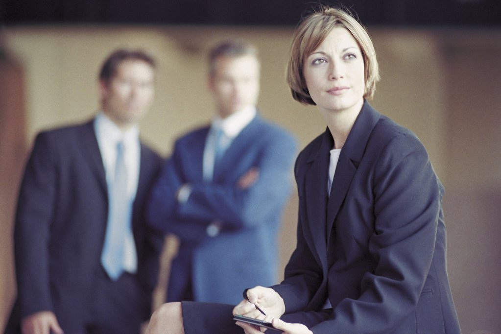 Stock Photo: 1439R-118008 Businesspeople outside office