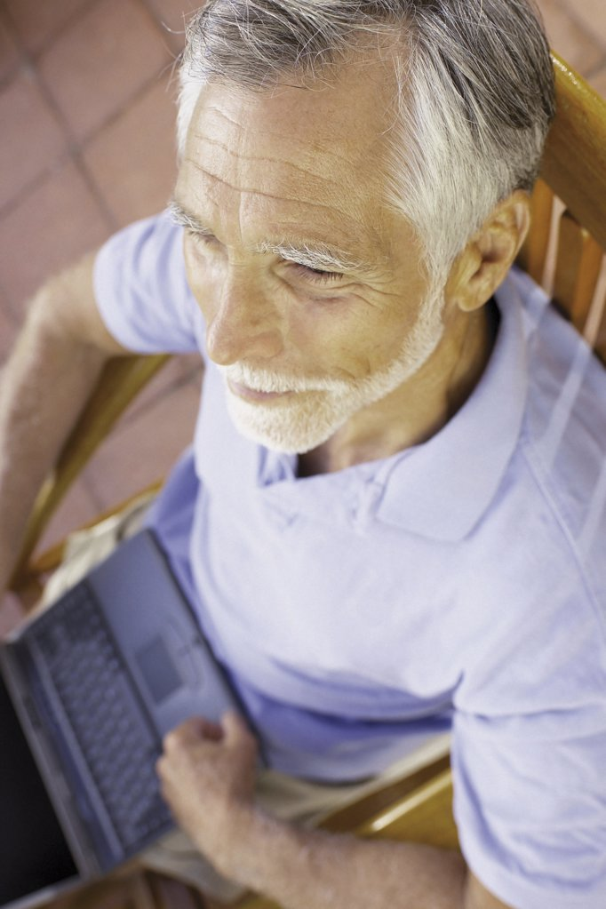 Man with computer : Stock Photo