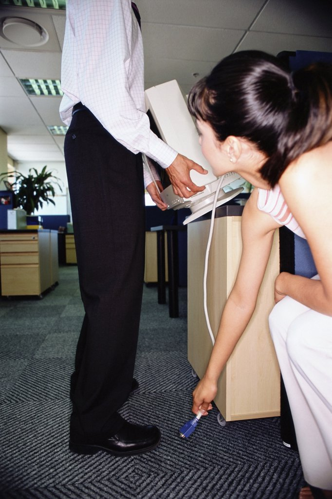 Shifting computer in the office : Stock Photo