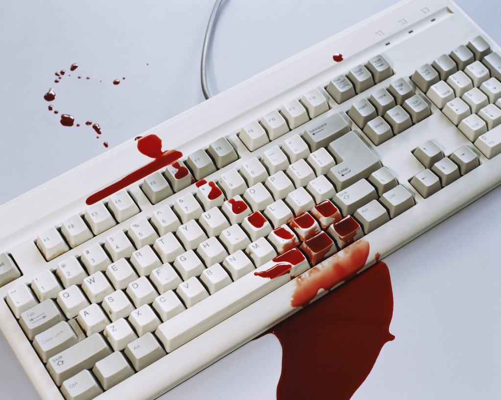 Stock Photo: 1439R-167062 Blood on a computer keyboard
