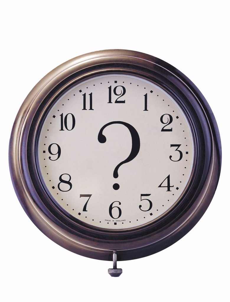 Clock and question mark : Stock Photo