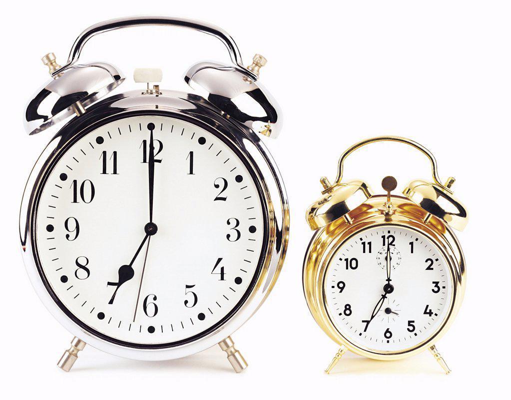 Stock Photo: 1439R-20045 Two alarm clocks
