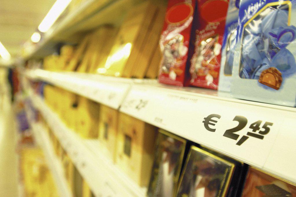 Supermarket shelf : Stock Photo