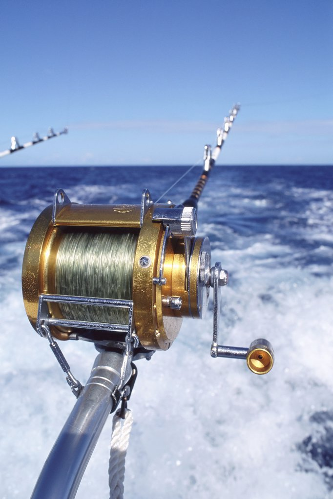 Stock Photo: 1439R-241057 Fishing reels on boat