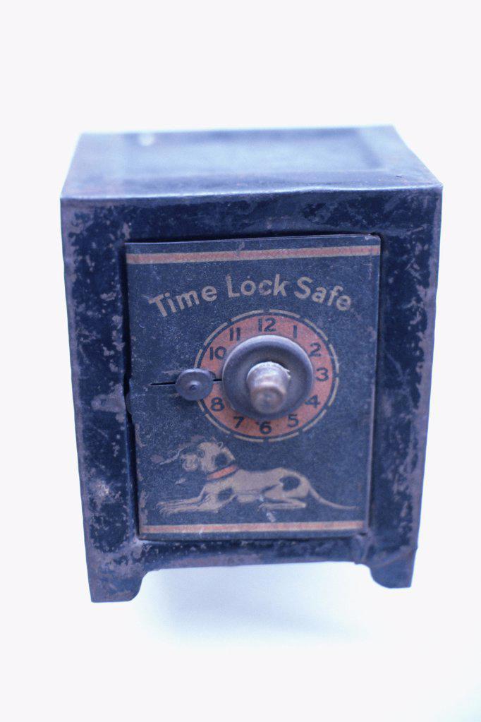 Blue time lock safe : Stock Photo