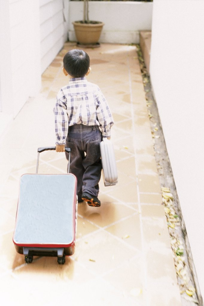 Boy with luggage : Stock Photo