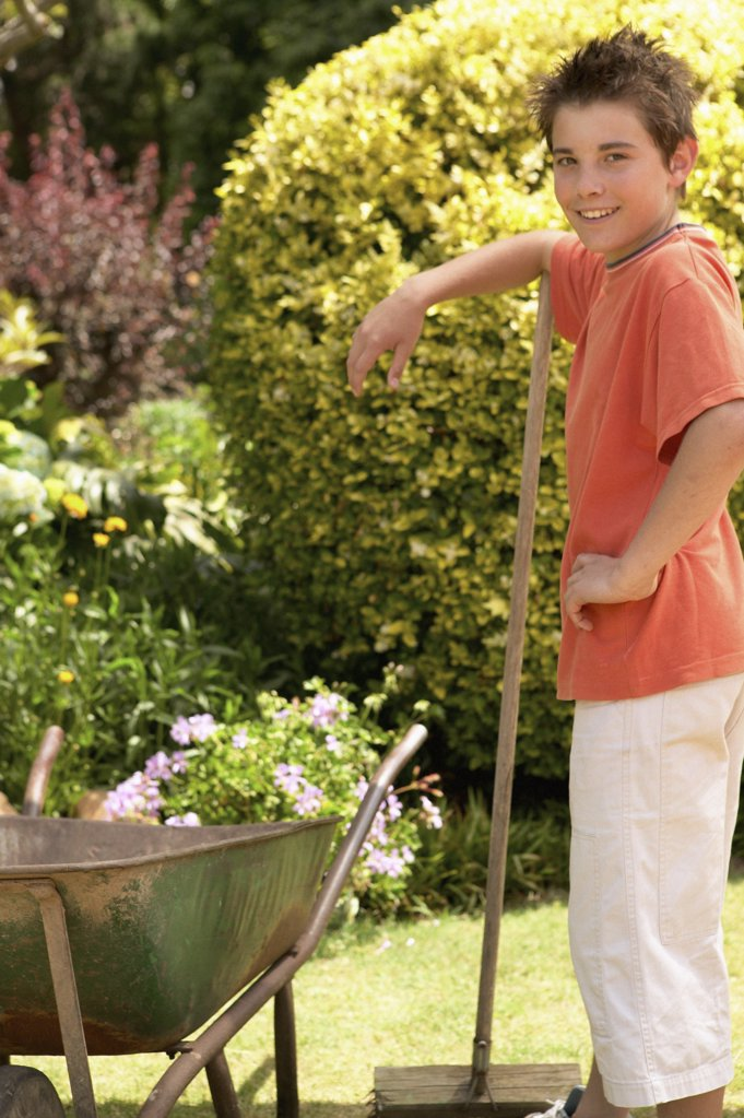 Boy with wheelbarrow : Stock Photo