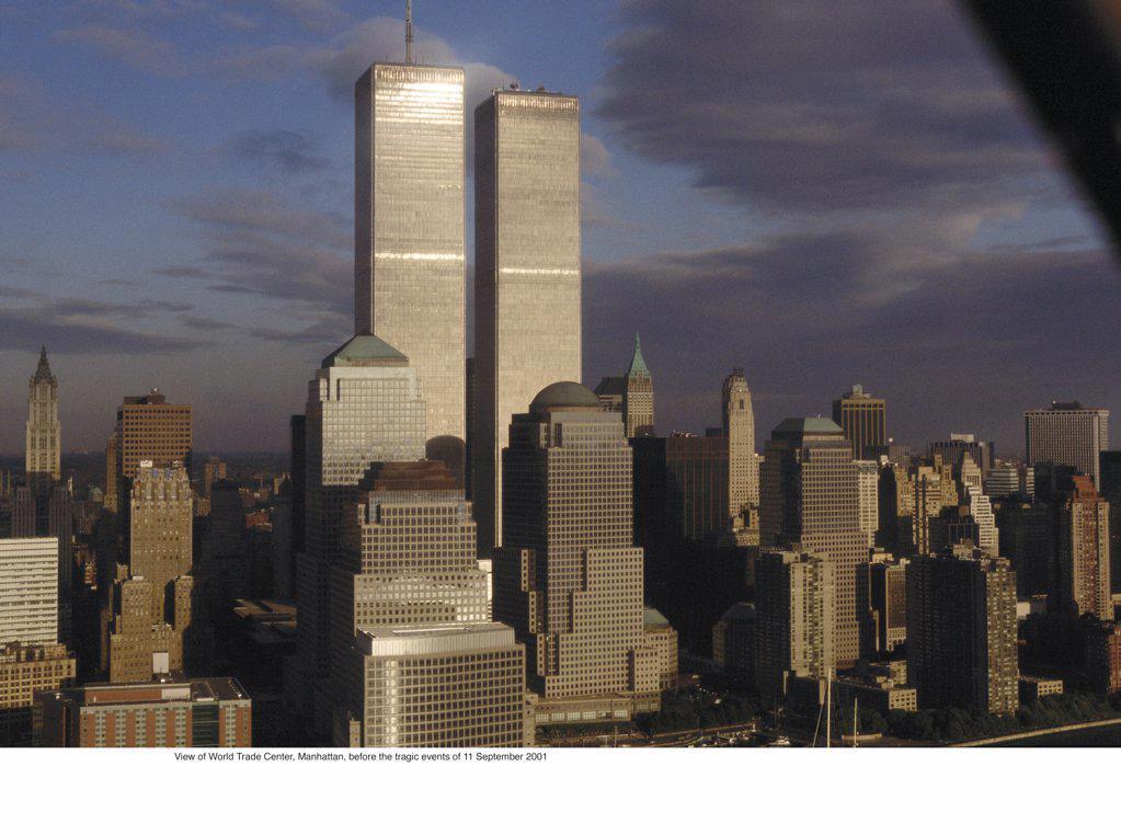 View of World Trade Center, Manhattan, before 11 September 2001 : Stock Photo