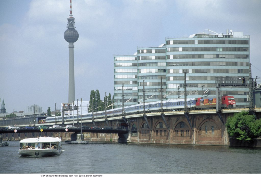 View of new office buildings from river Spree, Berlin, Germany : Stock Photo