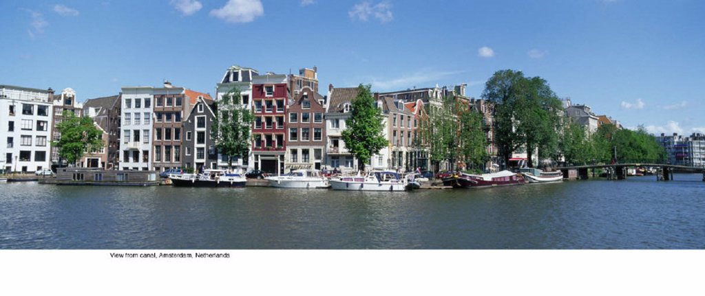 Stock Photo: 1439R-701072 View from canal, Amsterdam, Netherlands