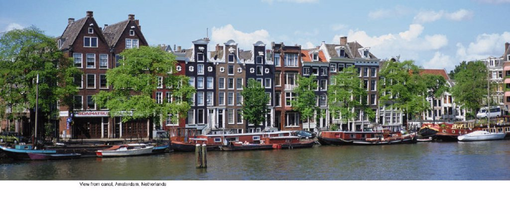 Stock Photo: 1439R-701073 View from canal, Amsterdam, Netherlands