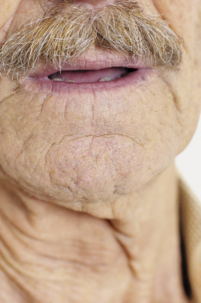 Stock Photo: 1439R-93045 Chin and moustache of old man