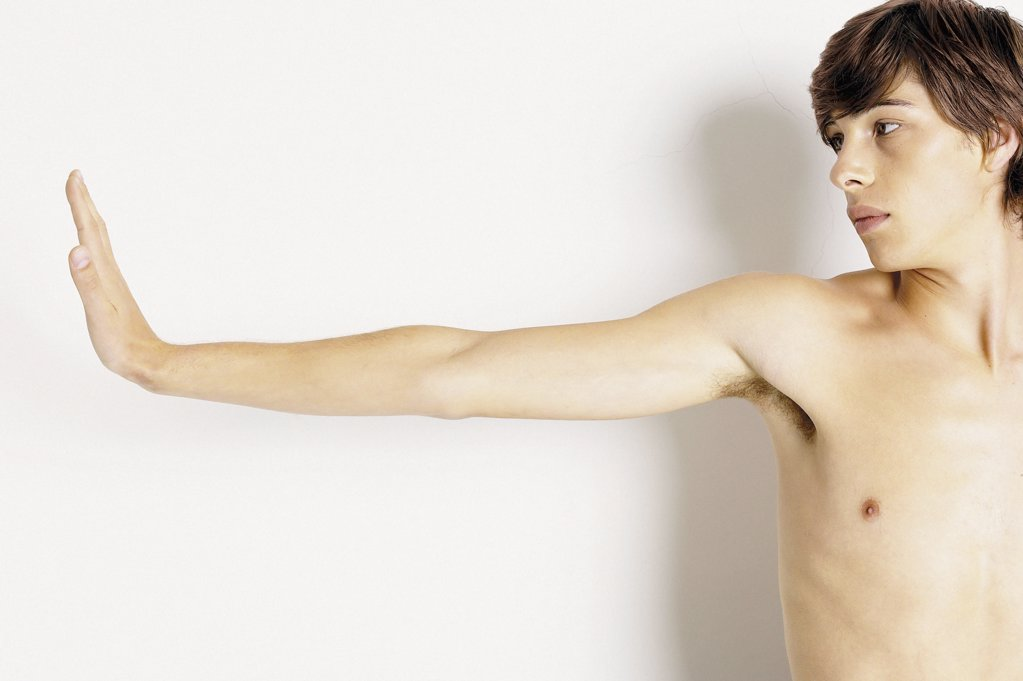 Stock Photo: 1439R-94010 Man with outstretched arm