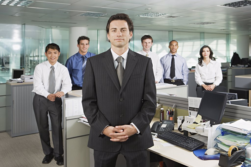 Stock Photo: 1439R-990489 Manager and his team
