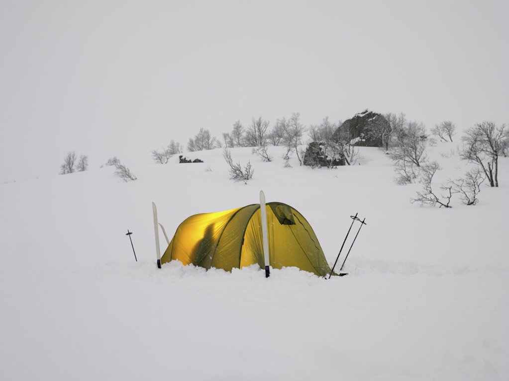 Stock Photo: 1439R-991852 Skiers in a tent