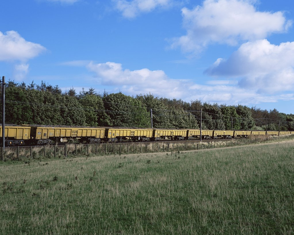 Stock Photo: 1439R-995493 Cargo train passing field